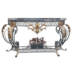 Early 20th Century Italian Iron Console with Gilt Accents