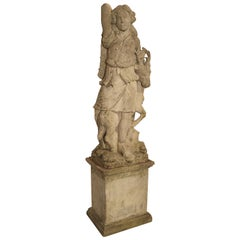 Early 20th Century Italian Limestone Statue of Diana the Huntress