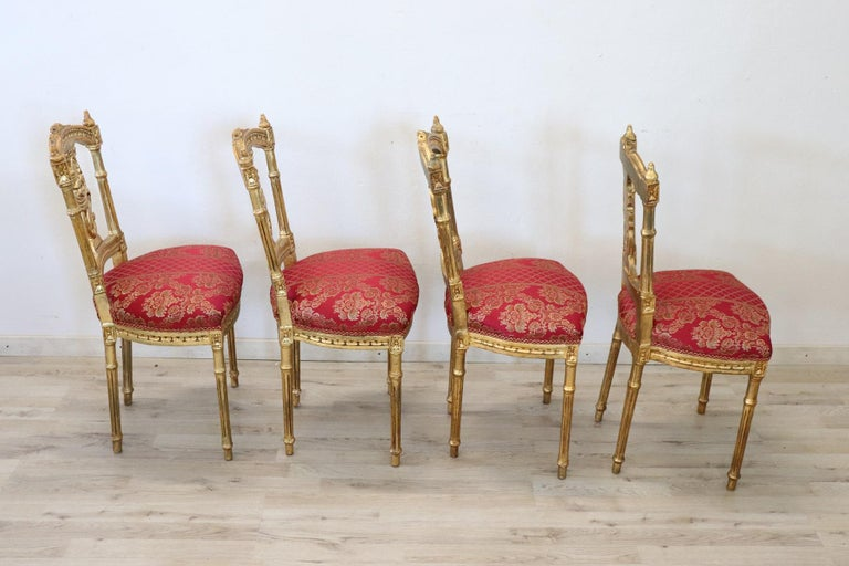 Early 20th Century Italian Louis XVI Style Carved and Gilded Wood Four Chairs For Sale 6