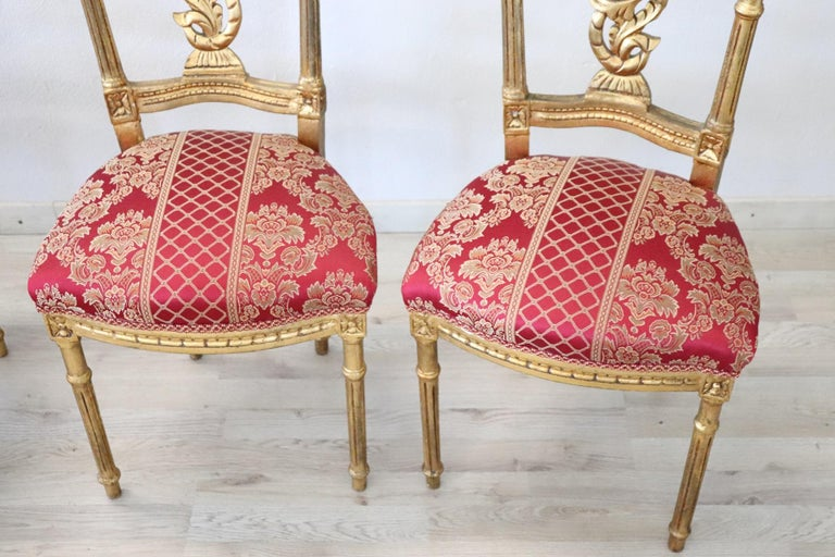Early 20th Century Italian Louis XVI Style Carved and Gilded Wood Four Chairs For Sale 3
