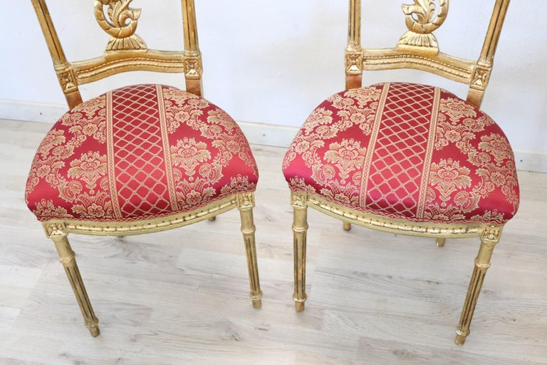 Early 20th Century Italian Louis XVI Style Carved and Gilded Wood Four Chairs For Sale 4