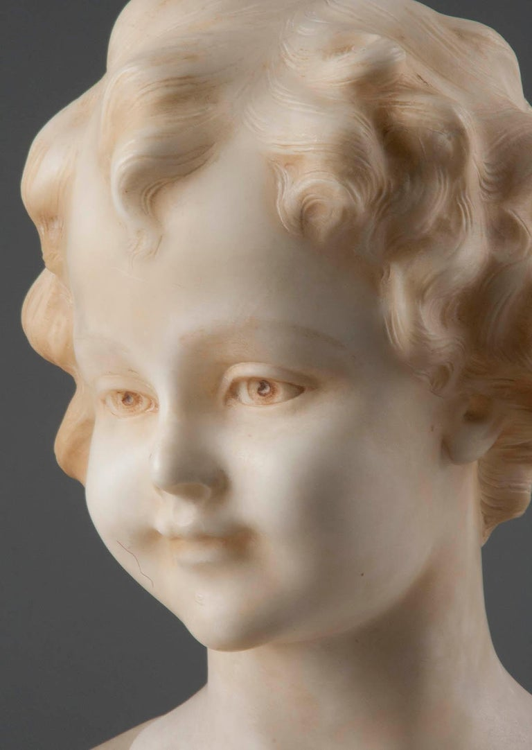 Art Deco Early 20th Century Italian Marble Bust of a Child by Trefoloni For Sale