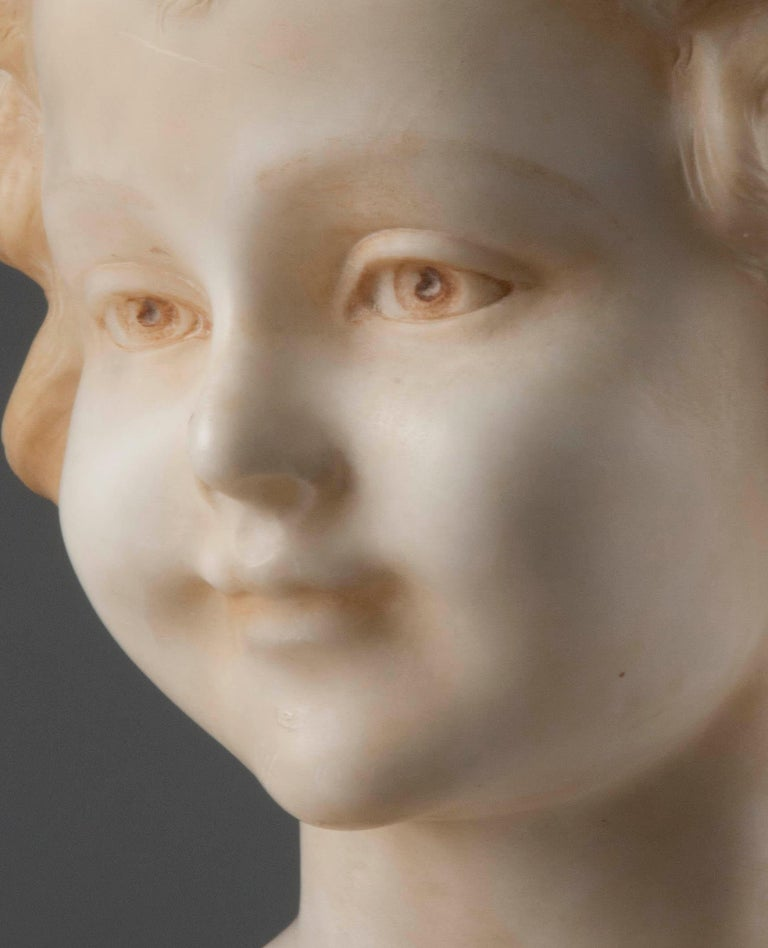 Alabaster Early 20th Century Italian Marble Bust of a Child by Trefoloni For Sale