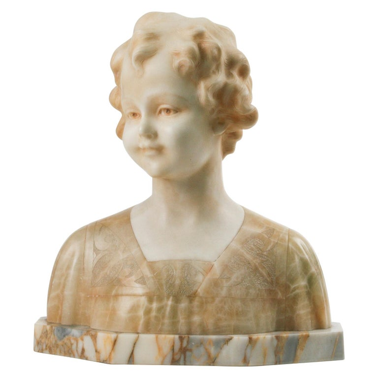 Early 20th Century Italian Marble Bust of a Child by Trefoloni For Sale
