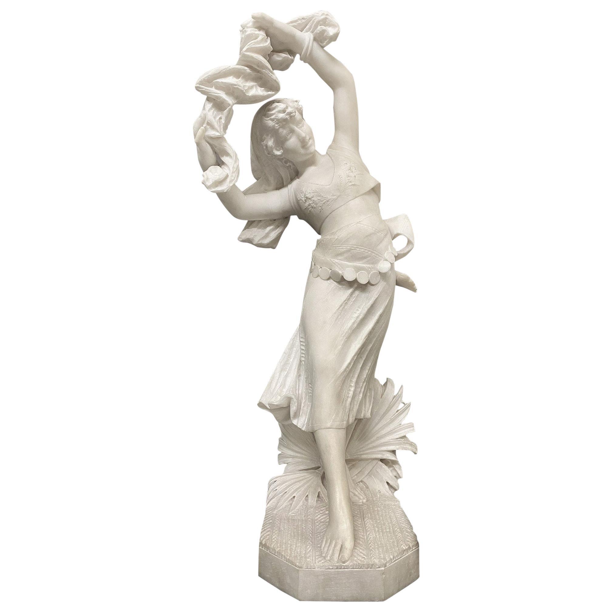 Early 20th Century Italian Marble Figure of an Exotic Dancer Ferdinando Vichi