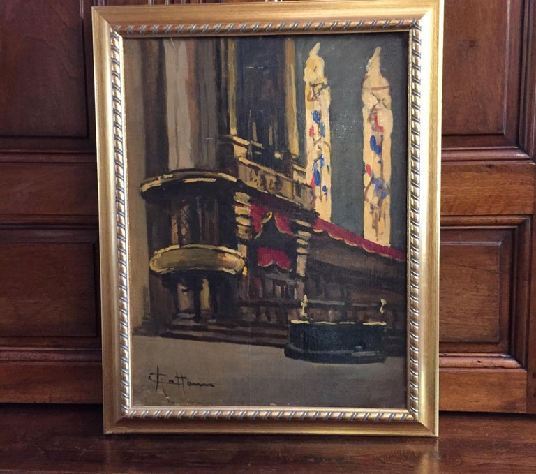Italian oil on canvas painting signed on the lower left, by the milanese artist Achille Cattaneo (1872-1932) depicting a church interior, may be the Milan Duomo cathedral interior, with its famous polychrome stained glass windows. Excellent
