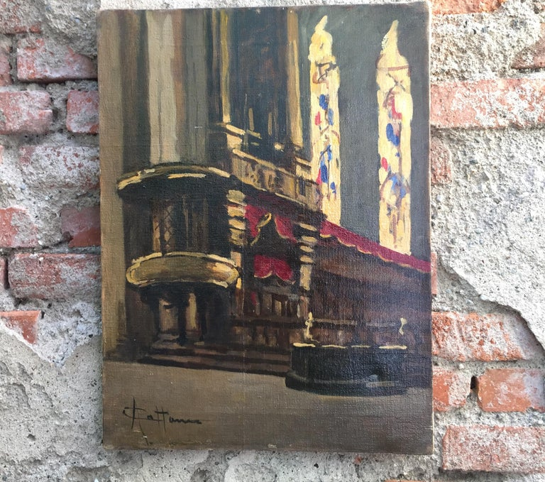 Hand-Painted Early 20th Century Italian Milan Duomo Cathedral Interior by Achille Cattaneo For Sale