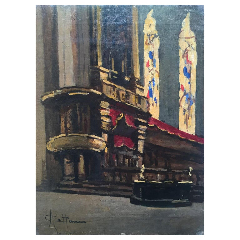 Early 20th Century Italian Milan Duomo Cathedral Interior by Achille Cattaneo For Sale