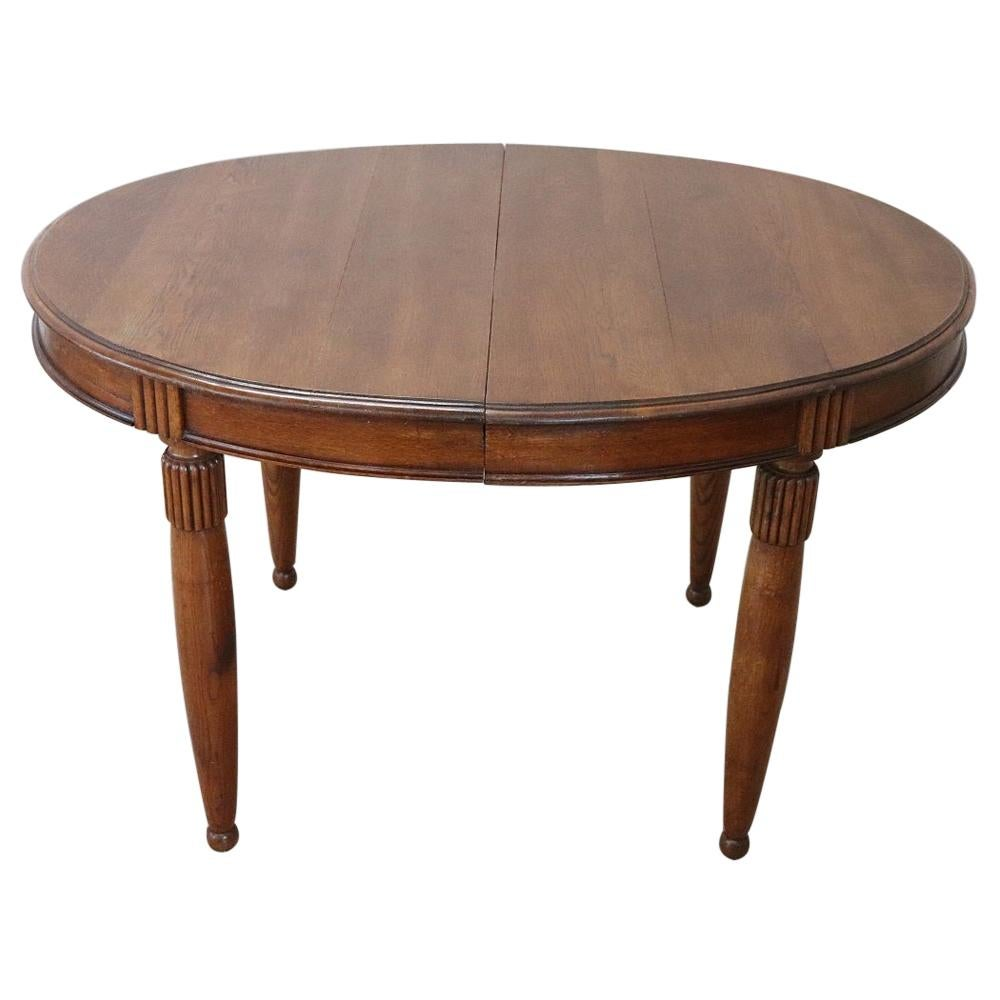 Early 20th Century Italian Oak Wood Oval Extendable Antique Dining Room Table