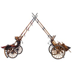 Early 20th Century Italian Pair of Horse Drawn Carriage Buggy Carriage Wagon