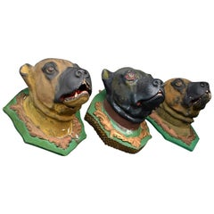 Early 20th Century Italian Plaster Dog Head Mounts
