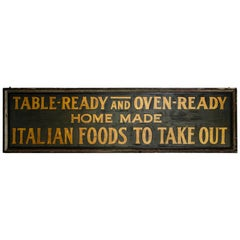Early 20th Century Italian Restaurant Sign