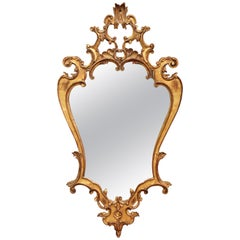 Early 20th Century Italian Rococo Carved Giltwood Wall Mirror