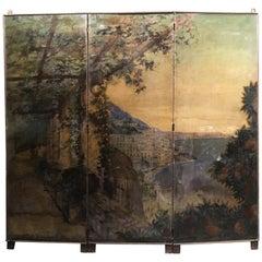 Early 20th Century Italian Screen Depicting the Amalfi Coast