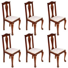 Early 20th Century Italian Set of Six Chippendale Chairs , hand-carved Walnut