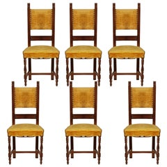 Early 20th Century Italian Set Six Renaissance Chairs in Walnut Wax-Polished