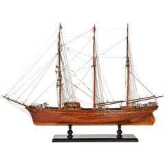 Early 20th Century Italian Ship Brigantine Pole Schooner Model