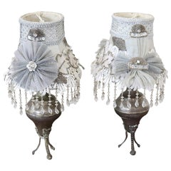 Early 20th Century Italian Silvered Metal Pair of Table Lamp