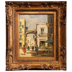 Early 20th Century Italian Street Scene Painting in Gilt Frame Signed Petrilli