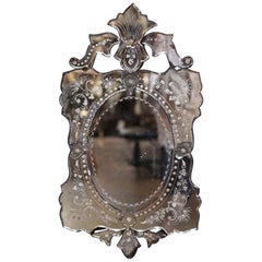 Early 20th Century Italian Venetian Mirror with Painted Floral Etching
