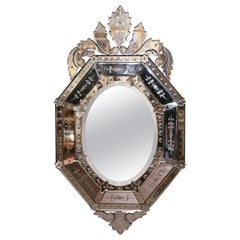Early 20th Century Italian Venetian Octagonal Mirror with Painted Floral Etching