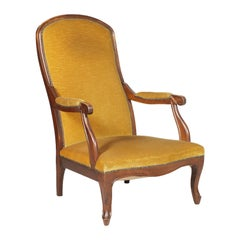 Early 20th Century, Italy Art Nouveau Armchair Hand-Carved Walnut, Yellow Velvet