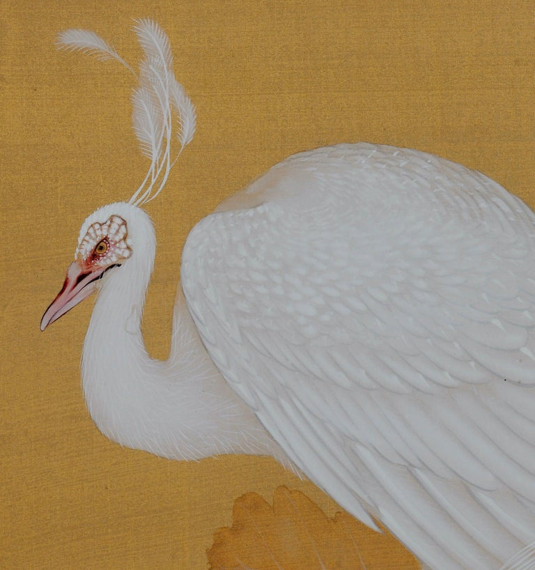 Hand-Painted Early 20th Century Japanese Framed Painting, White Peacocks on Silk and Gold For Sale