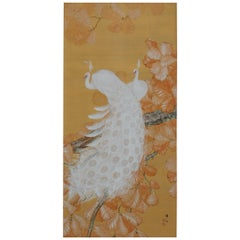Early 20th Century Japanese Framed Painting, White Peacocks on Silk and Gold