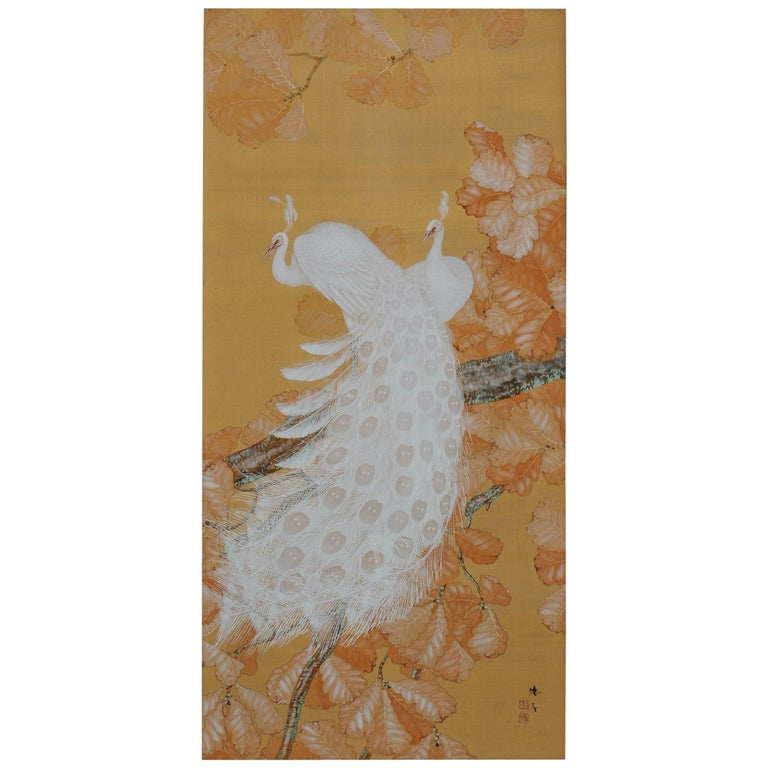 Early 20th Century Japanese Framed Painting, White Peacocks on Silk and Gold For Sale