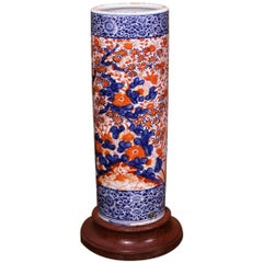 Early 20th Century Japanese Hand Painted Imari Porcelain Umbrella Stand