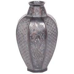 Japanese Octagonal Dragon Zinc Vase, c. 1900