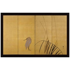 Early 20th Century Japanese Screen 'White Heron & Reeds' by Kimura Buzan