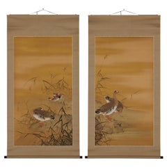 Japanese Scroll Paintings, Early 20th Century Geese & Reeds by Mochizuki Gyokkei