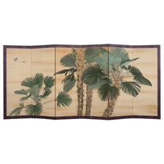 Early 20th Century Japanese Six Paper Panels Palm Trees Room Divider