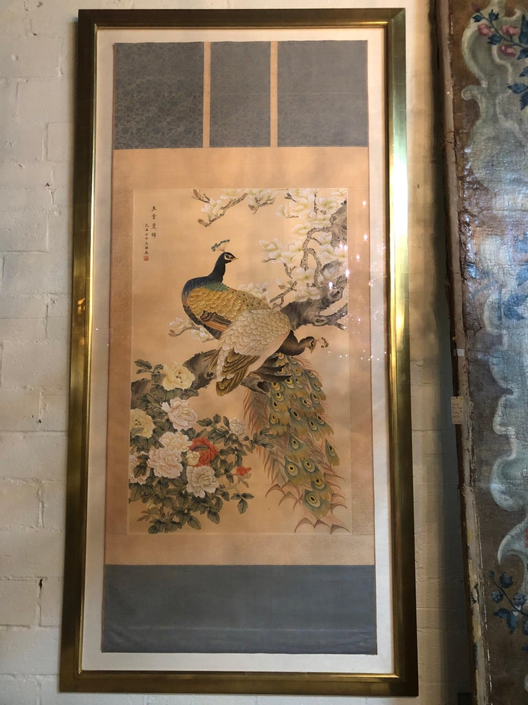 Early 20th Century Japanese Watercolor of Peacocks on Silk Background For Sale 5