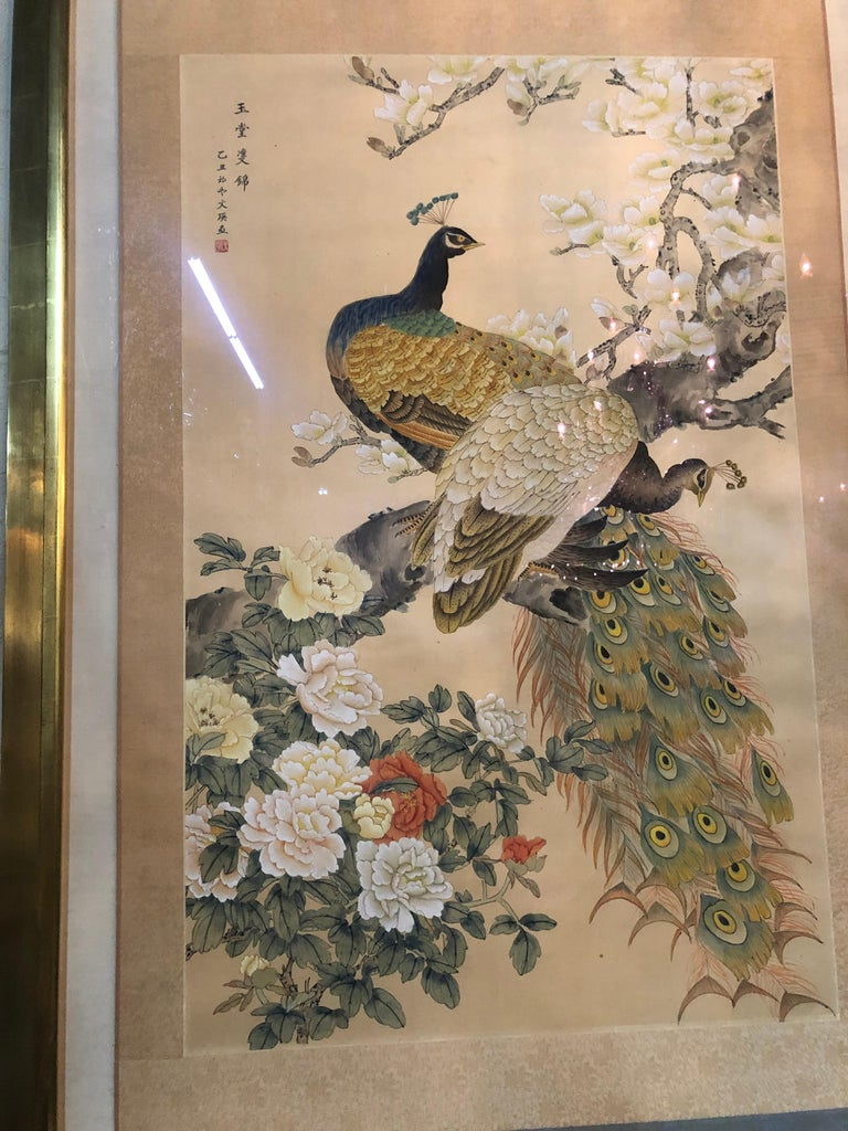 Beautiful Japanese watercolor on lovely silk background. Nicely framed in a gilt shadowbox. Gorgeous!