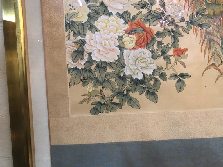 Hand-Painted Early 20th Century Japanese Watercolor of Peacocks on Silk Background For Sale