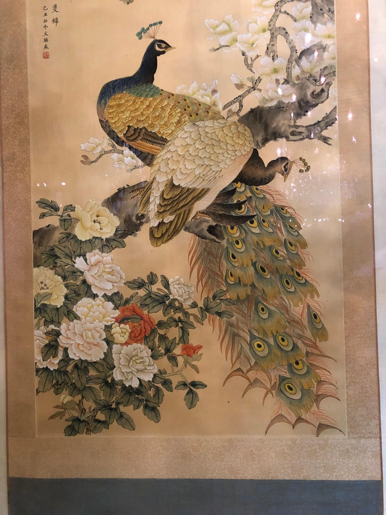 Early 20th Century Japanese Watercolor of Peacocks on Silk Background In Good Condition For Sale In Dallas, TX