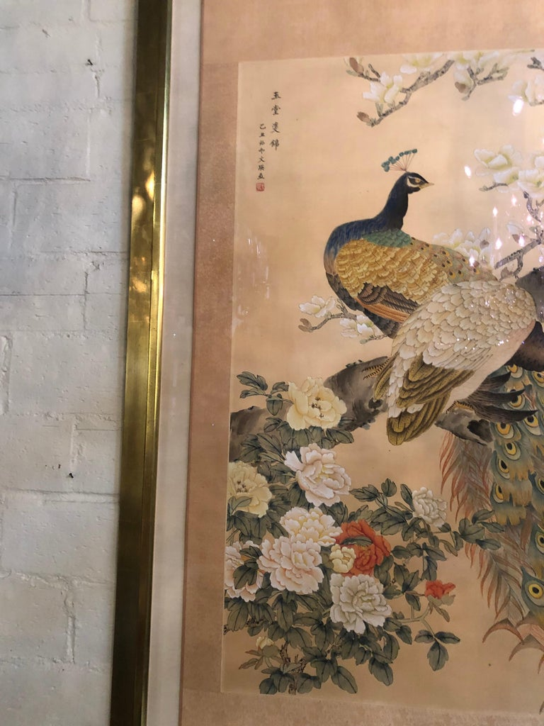 Paper Early 20th Century Japanese Watercolor of Peacocks on Silk Background For Sale