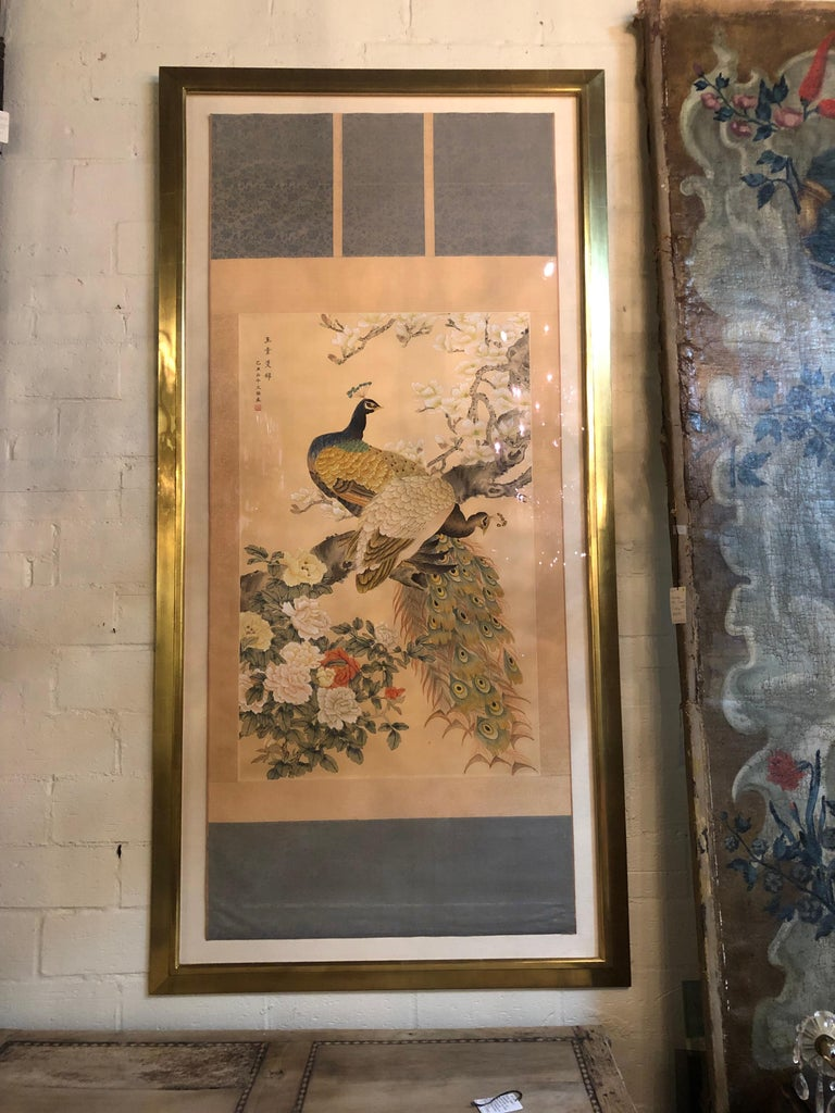 Early 20th Century Japanese Watercolor of Peacocks on Silk Background For Sale 2