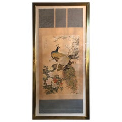 Early 20th Century Japanese Watercolor of Peacocks on Silk Background