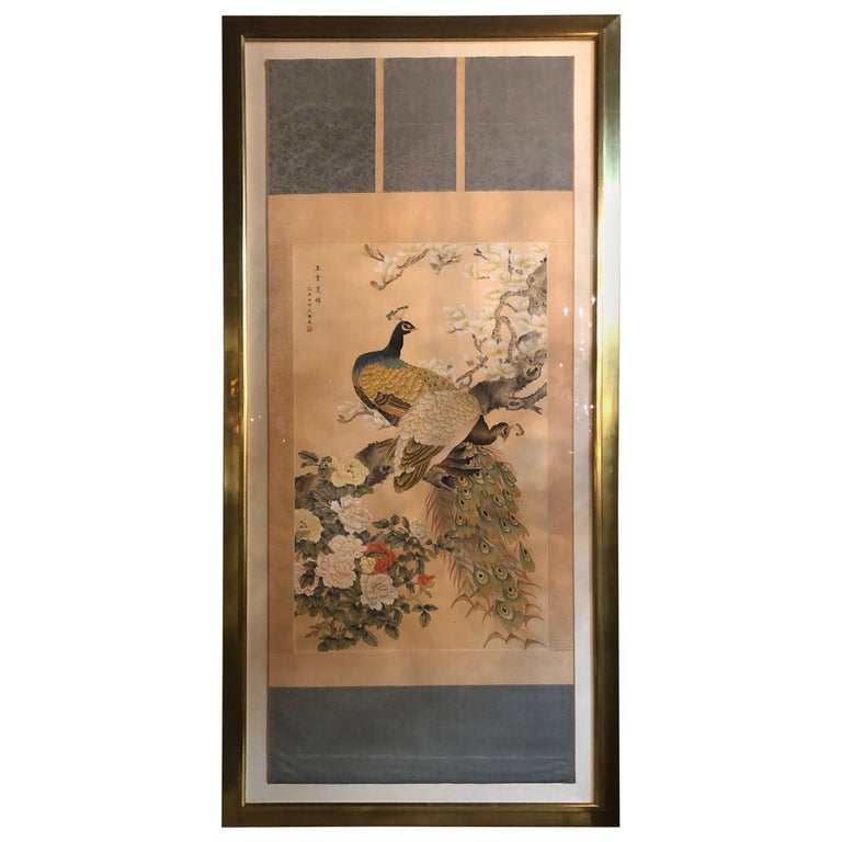 Early 20th Century Japanese Watercolor of Peacocks on Silk Background For Sale