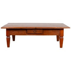 Early 20th Century Javanese Coffee Table with Single Drawer and Tapered Legs