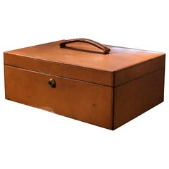 Early 20th Century J.C Vickery Leather Document Box