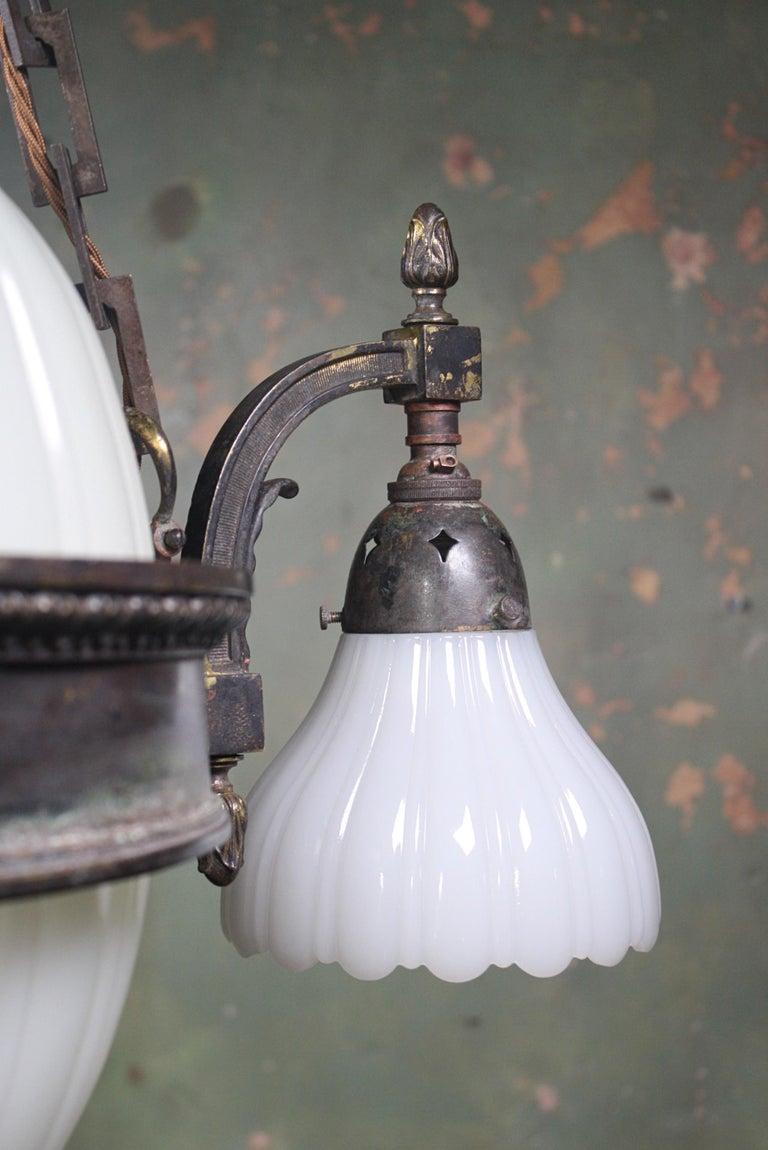 Early 20th Century Jefferson & Co. for G.E.C Moonstone Chandelier Light Pendant For Sale 7