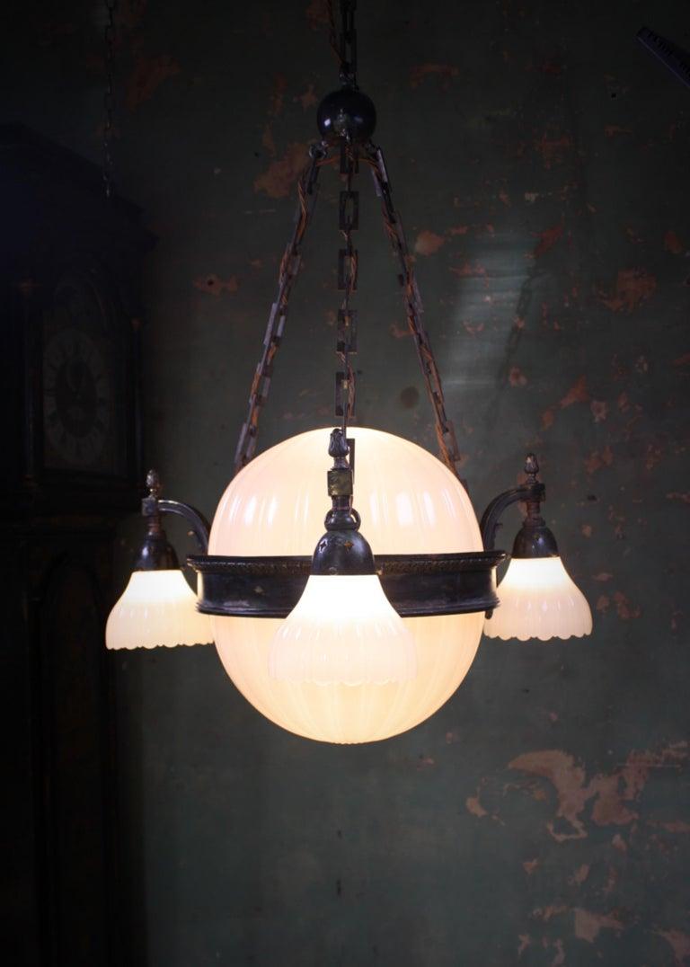 Edwardian Early 20th Century Jefferson & Co. for G.E.C Moonstone Chandelier Light Pendant For Sale
