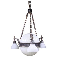 Early 20th Century Jefferson & Co. for G.E.C Moonstone Chandelier Light Pendant