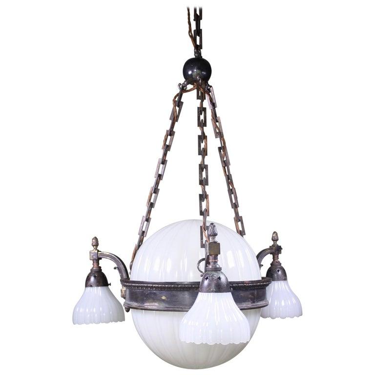 Early 20th Century Jefferson & Co. for G.E.C Moonstone Chandelier Light Pendant For Sale