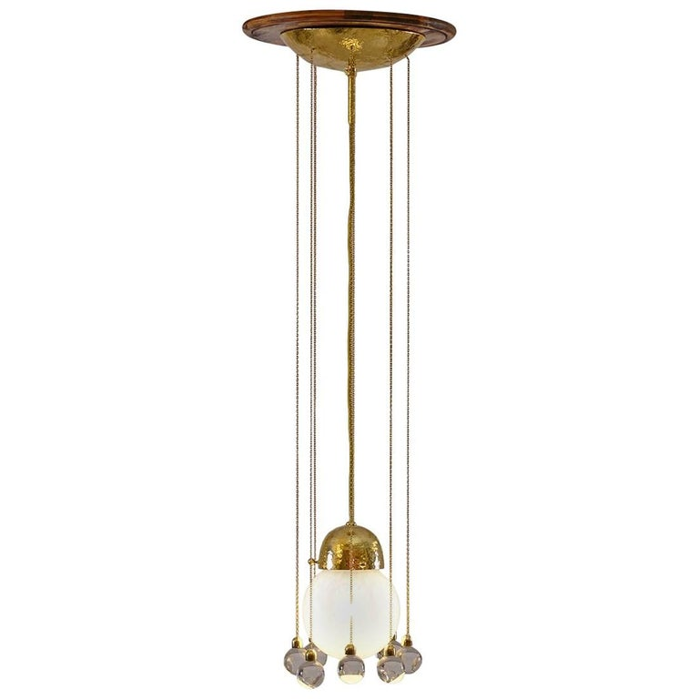 A pendant-lamp, very often used by Josef Hoffmann. Punched or plain, several finishes. Total drop custom-made.