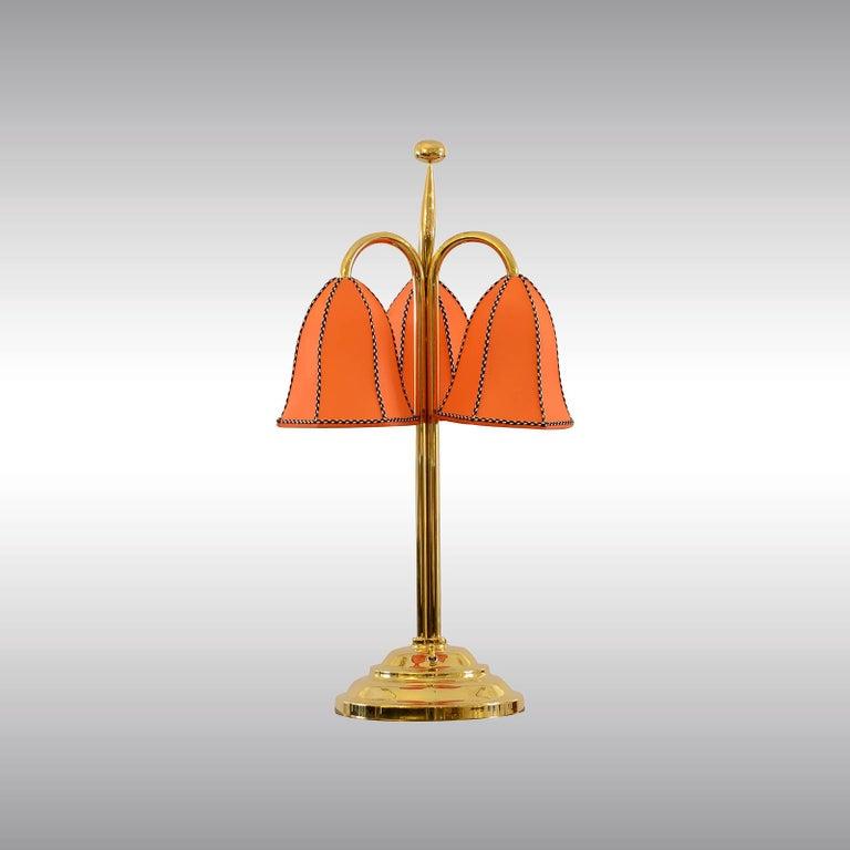 Jugendstil Josef Hoffmann&Wiener Werkstaette Silk&Brass Table Lamp,  Re-Edition  For Sale